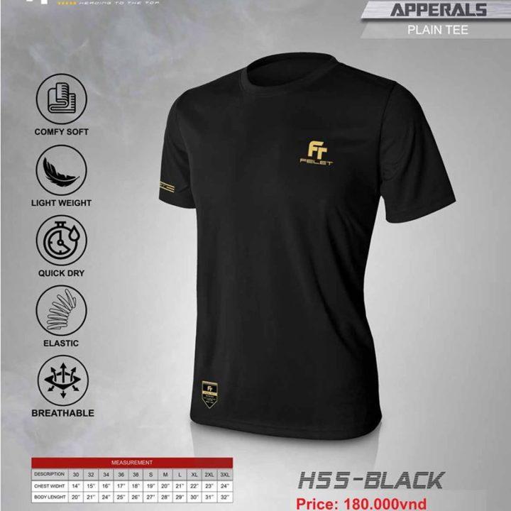 Áo Cầu Lông Felet H-55 Black (Plain Tee)