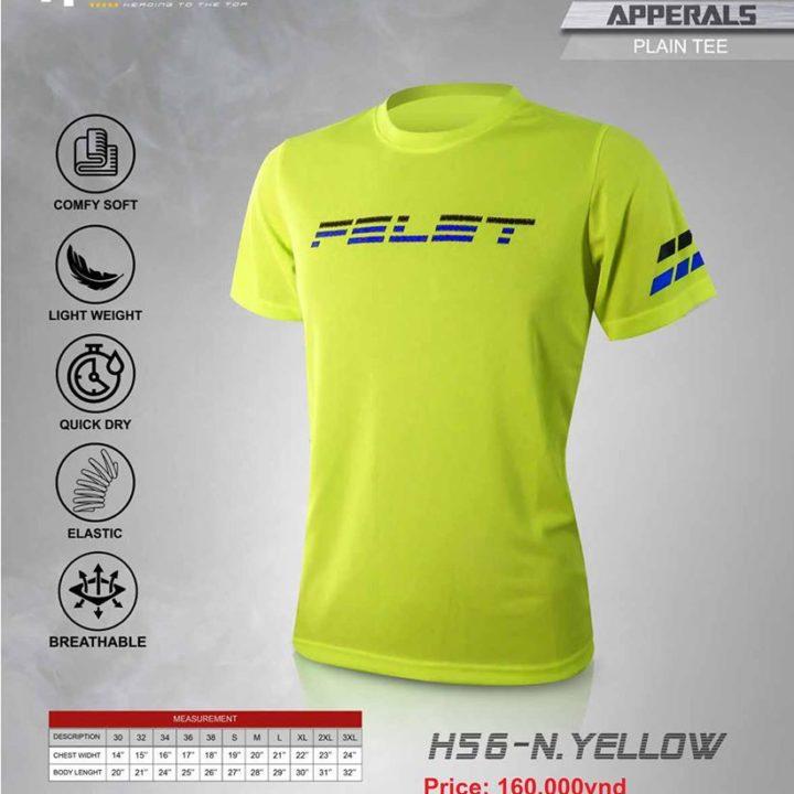 Áo Cầu Lông Felet H56 N. Yellow (Plain Tee)