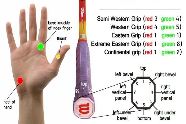 Các điểm trên tay và cách cầm thuận tay đúng vào cán vợt