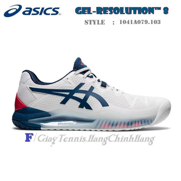 Giày Tennis Asics Gel Resolution 8 White / Mako Blue Năm 2021 (1041A079.103)
